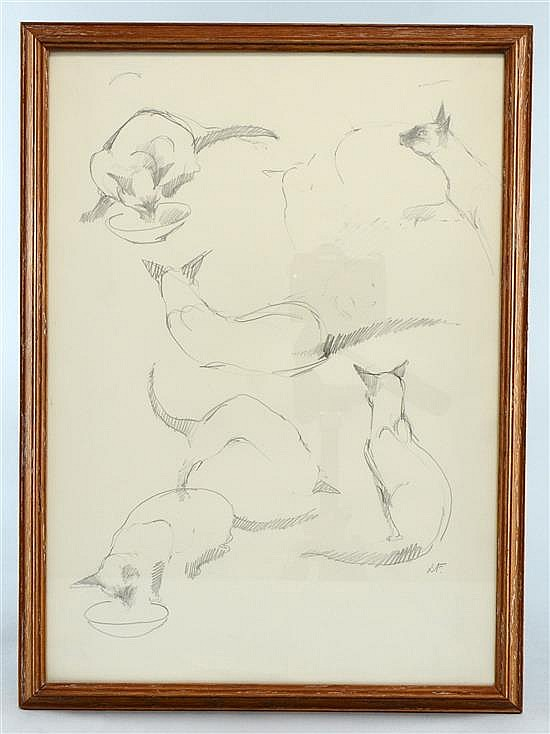 Lesley fotherby siamese sketches pencil sketch signed with initials l f