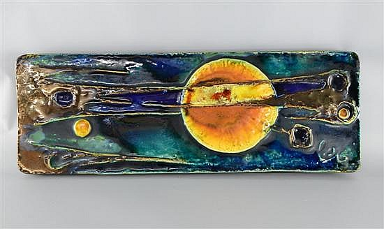 Helmut Schaffenacker German (1921-2010) large ceramic Art Pottery plaque , abstract design signed . 1970's , signed