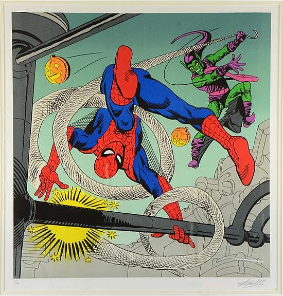 Spiderman Limited edition print 319/500, signed in pencil in the margin by Stan Lee, comic artist,