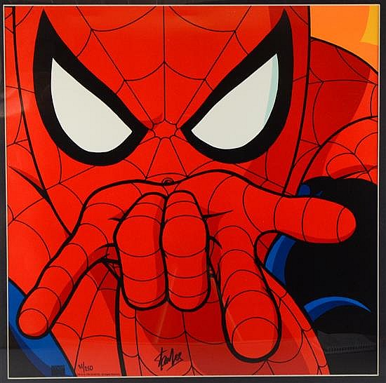 Spiderman Limited edition Marvel print 31/250, signed in marker by Stan Lee, comic artist,