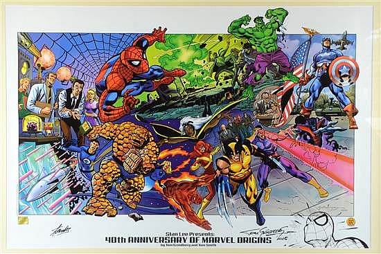 40th Anniversary of Marvel Origins, large colour poster signed by Stan Lee & Tom Grindberg with a hand drawn black marker