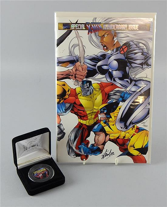Special X-Men Anniversary Issue comic, 'Uncanny X-Men' #325, signed by Stan Lee & numbered 133/400 & a Spiderman