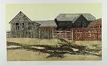 Valerie Thornton (British 1931-1991), 'Suffolk Farm' limited edition aquatint 5/150, signed in pencil and dated '75, 59cm x 79cm,60 x 35cm