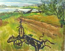 Ray Ambrose (British, 1926-1989). 'Plough and Lagoons, Aveiro', oil on board, unsigned, unframed. 36cm x 46cm.