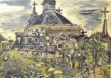 Ray Ambrose (British, 1926-1989). 'Partly Demolished Cathedral - Madrid', mixed media on paper with artists studio label verso. Framed and glazed, picture size 27cm x 37cm, frame size 41cm x 51cm.