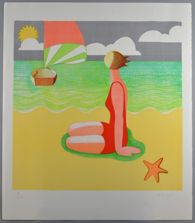 Scott Kilgour (Scottish, b.1960). 'Beach Belle' limited edition screenprint, signed and numbered 41/200 in pencil to margin. Unframed. 51.5cm x 51.5cm (paper size: 65.5cm x 58cm).