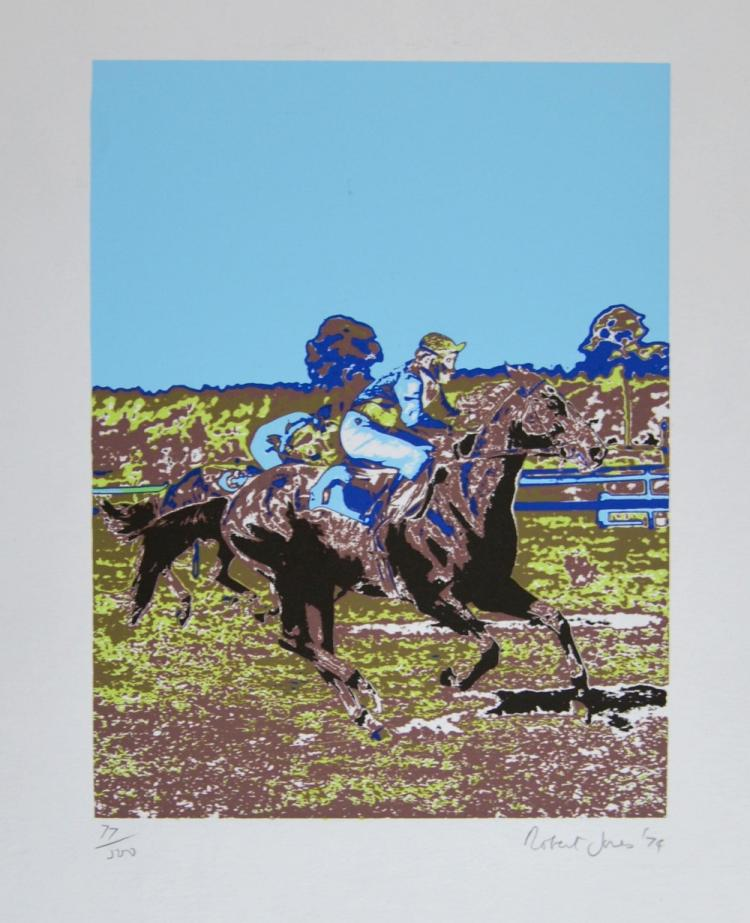 Robert Jones (British, b.1943). Horse Race, limited edition silkscreen print. Signed, numbered 77/500 and dated '74 in pencil to margin. 22cm x 16,5cm (paper size 56cm x 38cm).