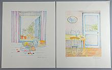 Charlotte Ardizzone (British, b.1945). Two limited edition colour lithographic prints. Window Scene, signed and numbered 17/195 in pencil, unframed, 33cm x 26cm. And Kitchen Scene, signed and numbered 18/195 in pencil, unframed, 33cm x 26cm.