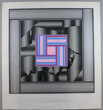 Derek Hirst (British, 1930-2006). 'Paradox No I 1975', limited edition lithograph. Signed, titled, dated and numbered 22/35 in pencil to margin. Unframed. 53cm x 53cm (paper: 67cm x 62cm).