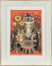 Sheila Flinn (British, b. 1929), brown cat family