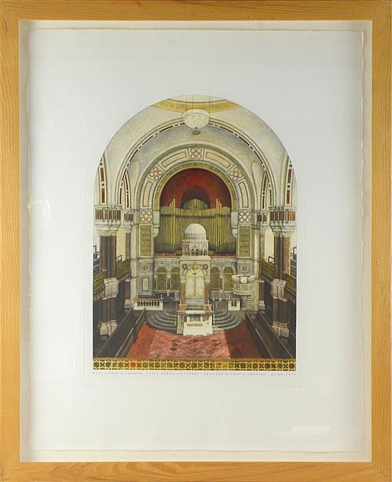Andrew Ingamells 'West London Synagogue' limited edition, 22/195, aquatint etching, signed and numbered in pencil, framed,