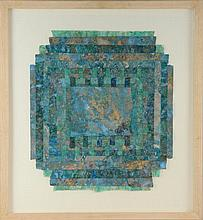 Katherine Virgils 'Green Coelice - 1988' mixed media abstract, The New Academy Gallery label verso, framed