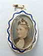 19th portrait miniature in oval frame of a lady with an enamel blue and white surround with a 9ct gold back.