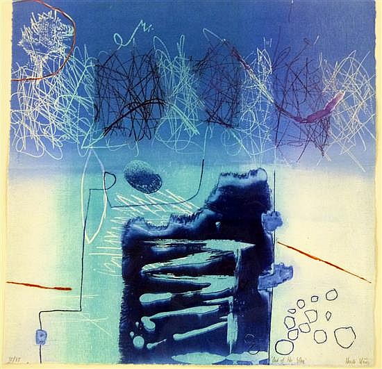 Heidi Konig (b.1964) 'Out of the Blue' limited edition woodcut etching, 35/75,