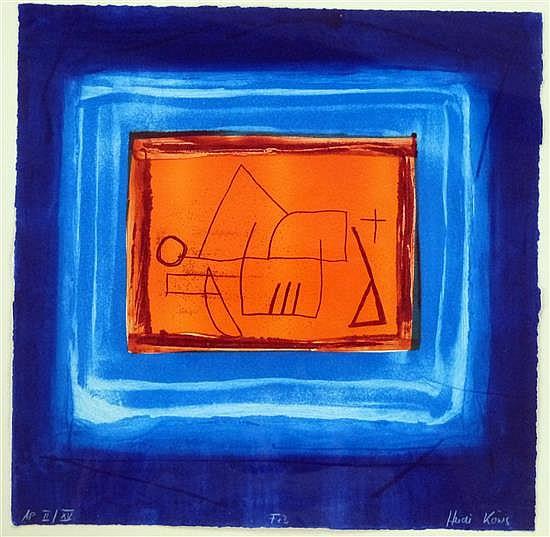 Heidi Konig (b.1964) 'Fez' limited edition Artist Proof woodcut etching, II/XV,