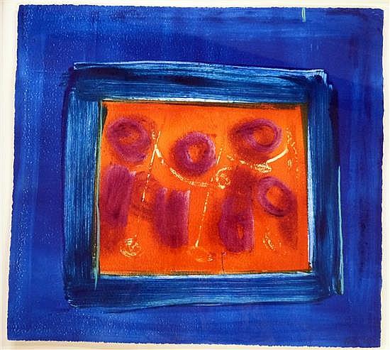 Heidi Konig (b.1964) 'Midnight Blue' woodcut etching,