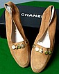 REVISED ESTIMATE Pair of Chanel caramel suede loafers with Chanel medallions