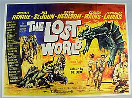 The Lost World (1960) British Quad film poster, directed by Irwin Allen and based on the novel by Sir Arthur Conan Doyle,