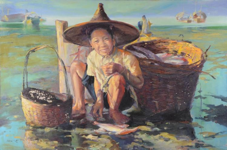 Wei Ming.  Lo Hing Kwok Hong Kong School - picture of a young boy collecting fish on a seashore, boats in background,91 cm x 61 cm