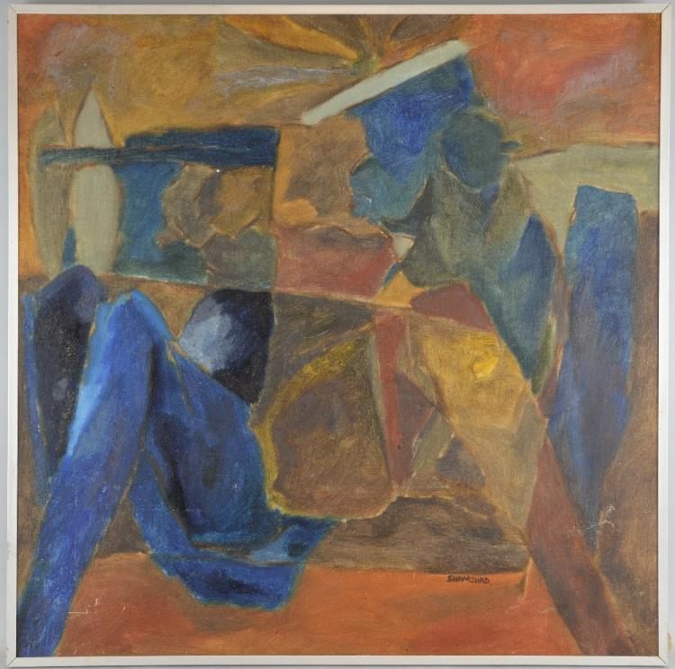 Shamshad Husain, Indian b.1946, abstract composition with two blue nudes, signed, oil on canvas, inscribed verso 'Shamshad J-20 Jungpura Extn New Delhi-14', 74.5cm x 74.5cm,