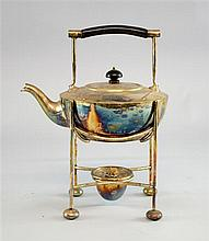 Mappin & Webb silver plate spirit kettle on stand in the manner of Christopher Dresser