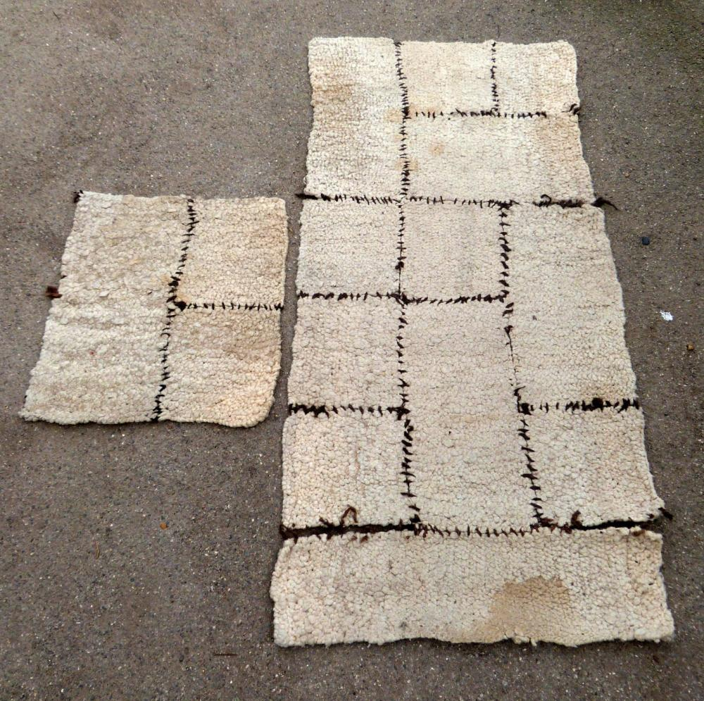 Looped Wall Rug, White Ground In Six Pieces 69cm X