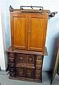 Sewing machine in walnut case and a trouser press