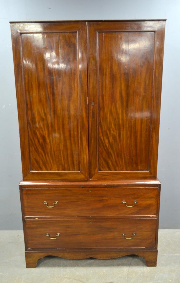 19th century mahogany linen press for Linen press