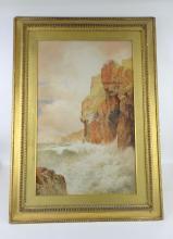 Arthur Suker, rocky sea scape, watercolour, monogr