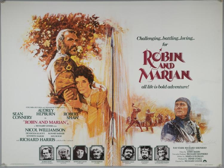 Sold Price: Robin and Marian (1976) British Quad poster starring Sean  Connery, Audrey Hepburn, Robert Shaw, signed by Brian Bysouth, Columbia,  folded, 30 x 40 inches.This lot has been consigned by Brian