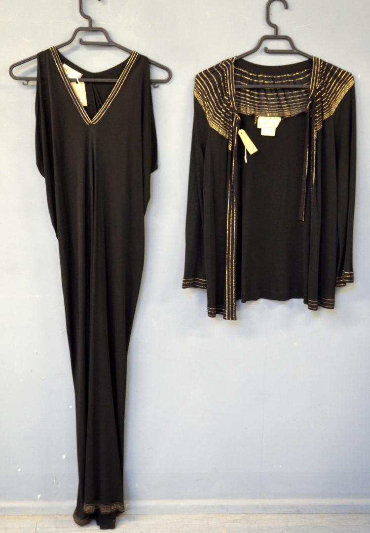 Janice Wainwright 1980s black viscose full length