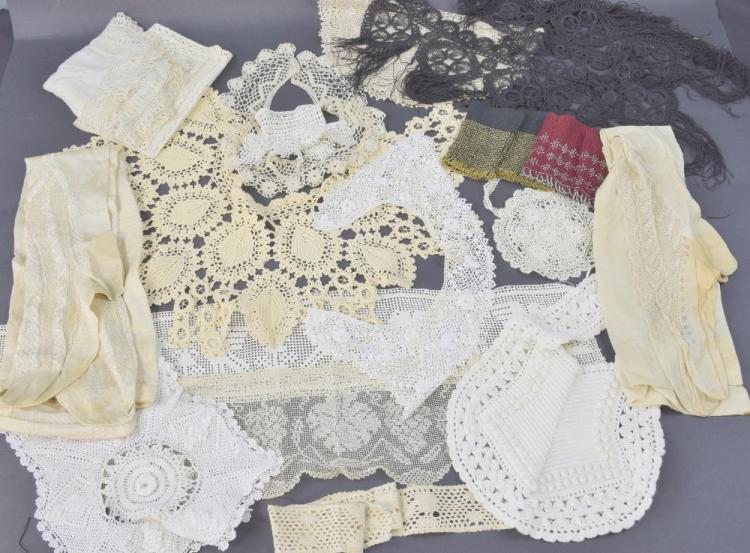 A group of lace, crochet and woven items, 19th to
