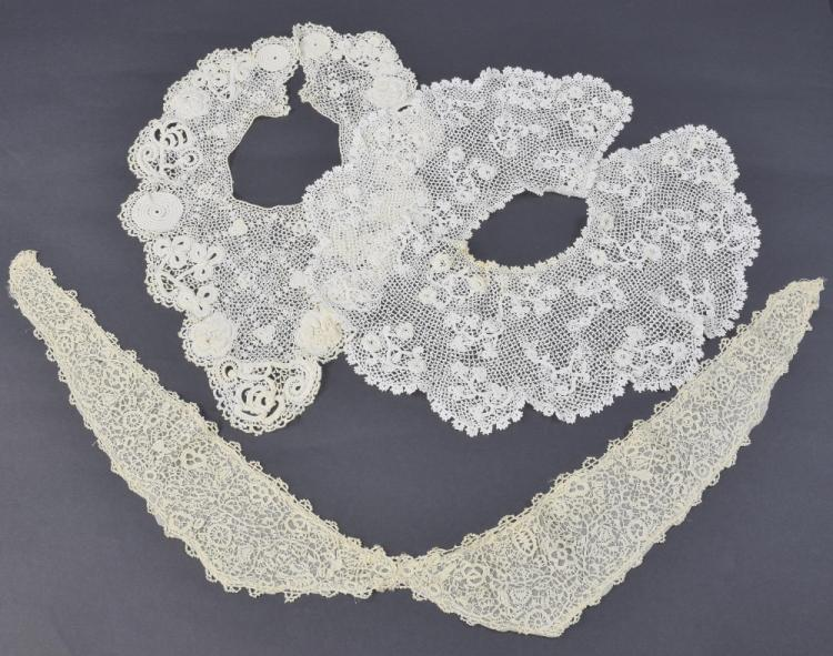 Irish lace collars, one fine gauze, early to mid 1