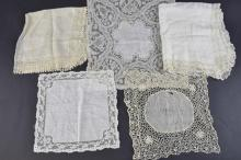 Five lace trimmed handkerchiefs, late 18th/19th C,