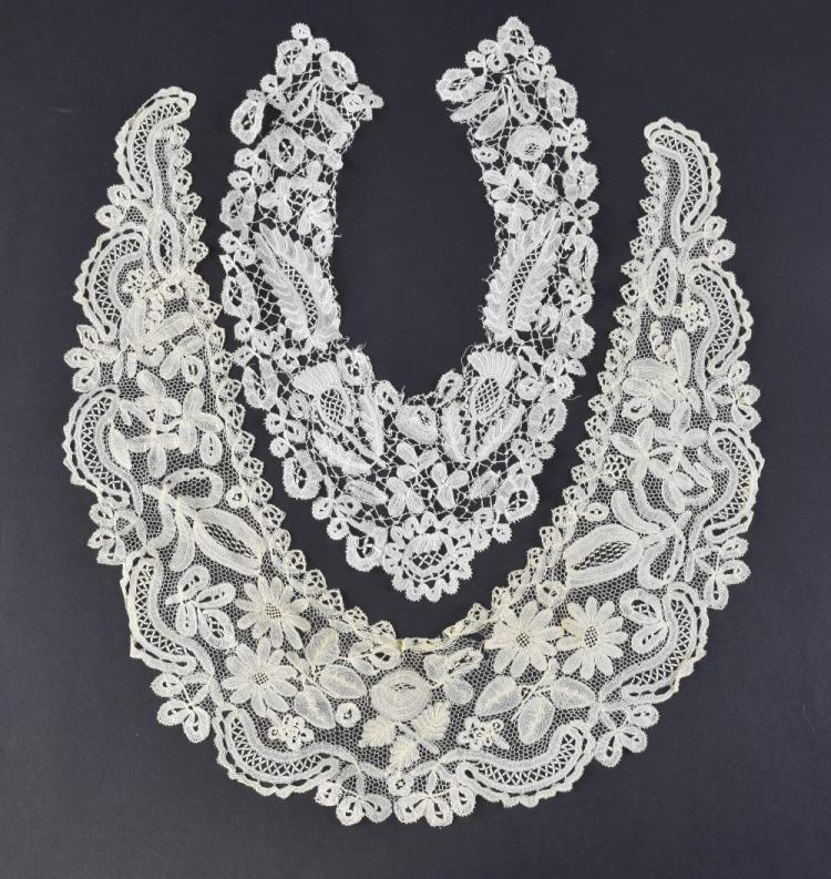 Ten 19th C lace collars, including an unusual Honi