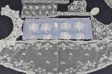 A group of Irish lace including a Limerick fischu,