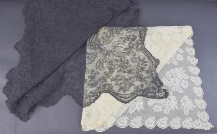 Large black lace shawl, with central motif and cor