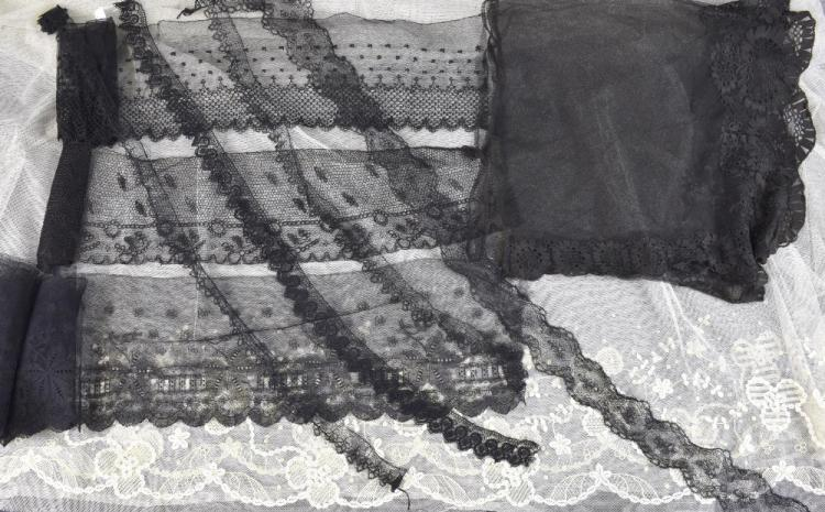 19th black  lace bonnet veil, tambour work headdre