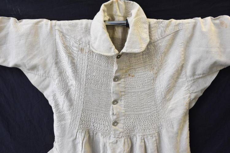 19th Century British farmers smock, heavy linen th