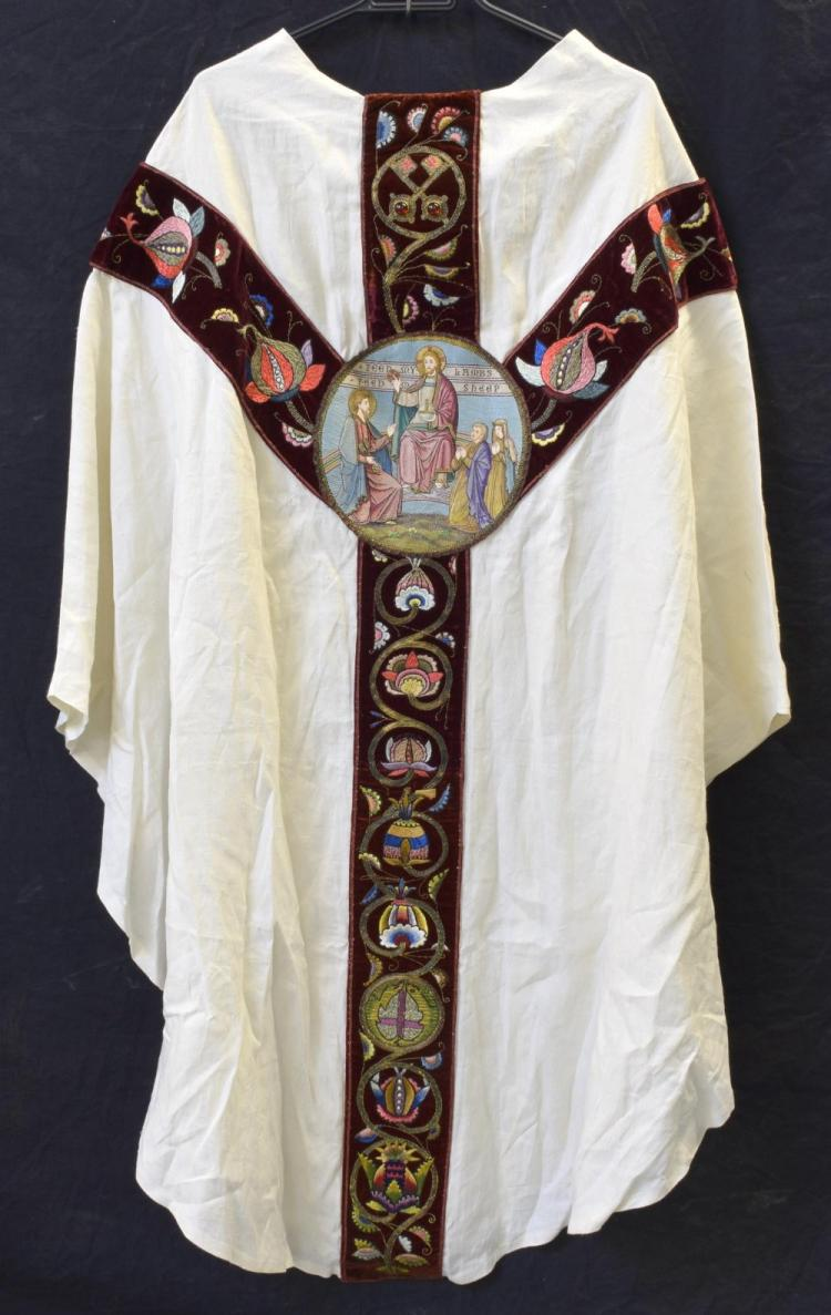 A priest cassock of cream cotton with central roun