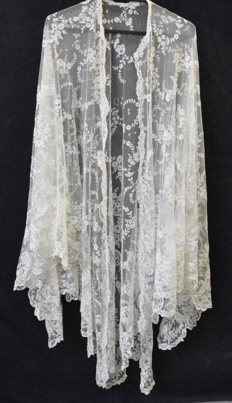 An Irish Carrickmacross lace wedding veil or shawl
