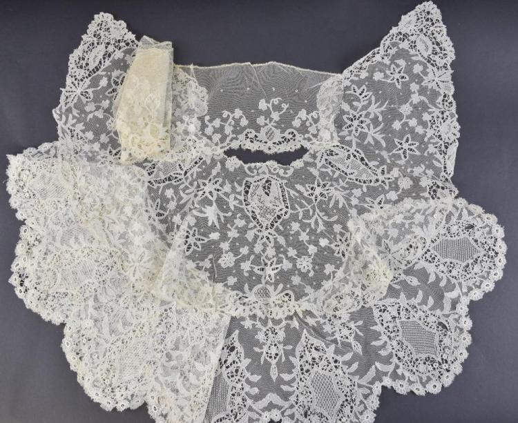 Carrickmacross Irish lace shawl collars and a le