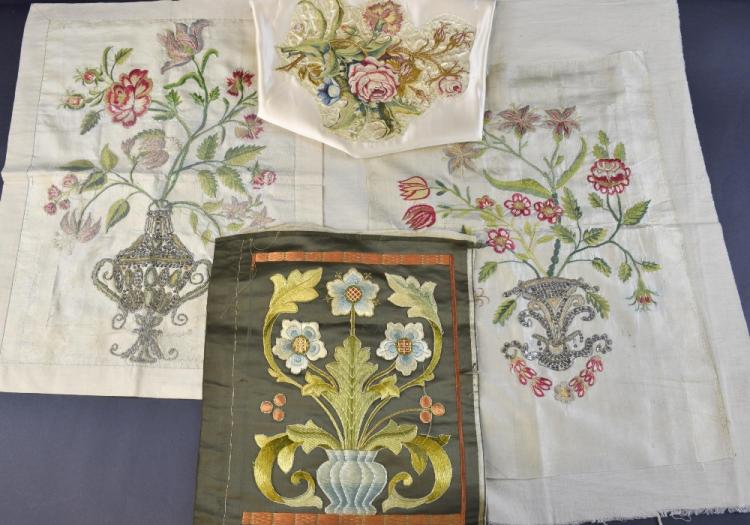 Four embroidered panels, two French 18th C depicti