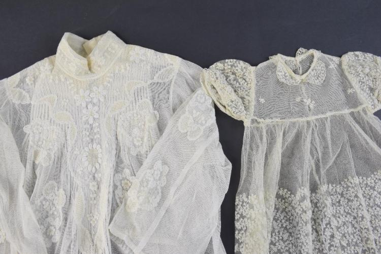 Late Victorian blouse, in net with lace appliqué,