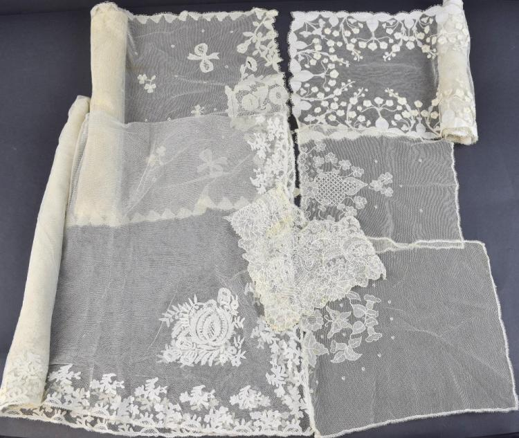 Irish Carrickmacross lace, a veil with floral deco
