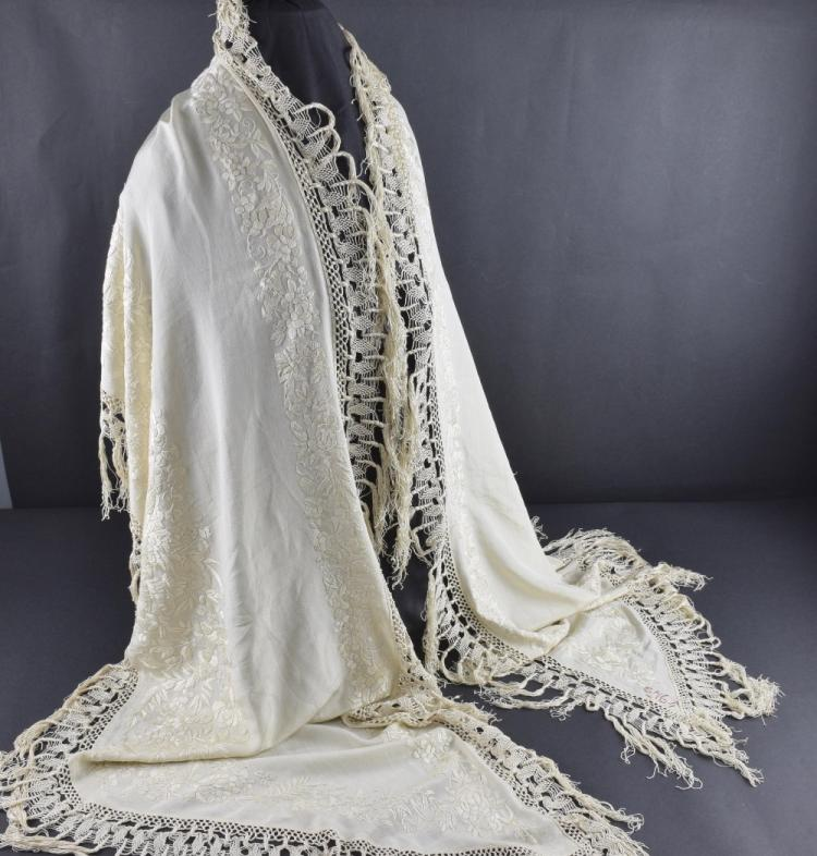 1920's Cream silk shawl with self decoration of e
