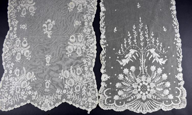 Two tambour lace stoles/shawls, both with floral d