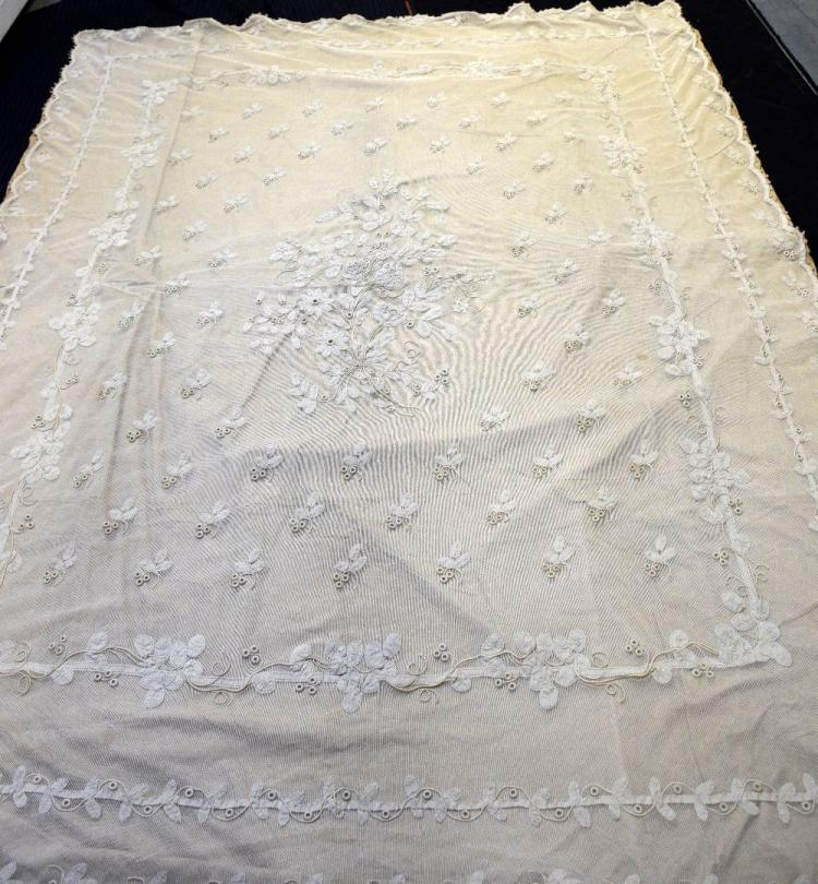 Victorian bed cover, cotton net lace with tape lac
