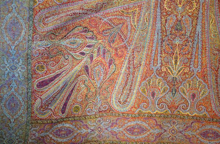 19th C paisley shawl , with central black ground e