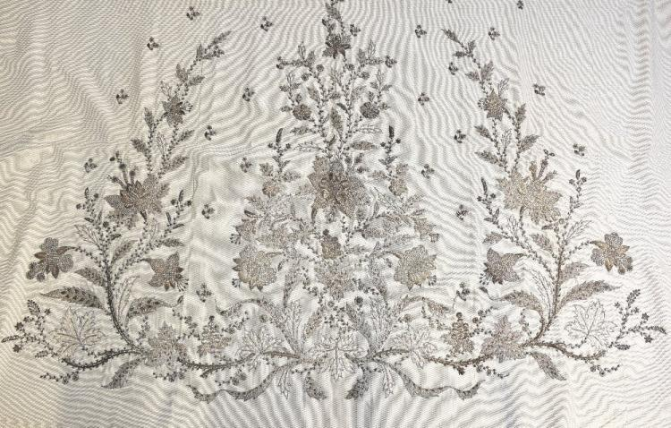 19th C skirt panel on cream woven silk with large